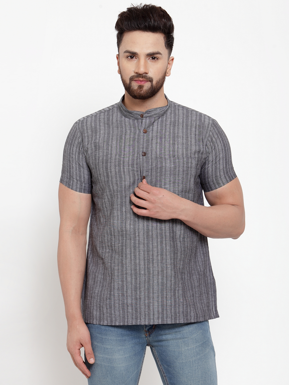 Abhiyuthan | Grey Self stripes Short Kurta