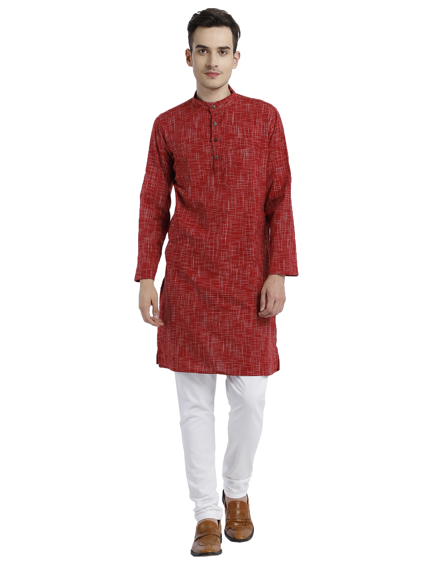 Abhiyuthan | Red Abstract Weave Long Kurta