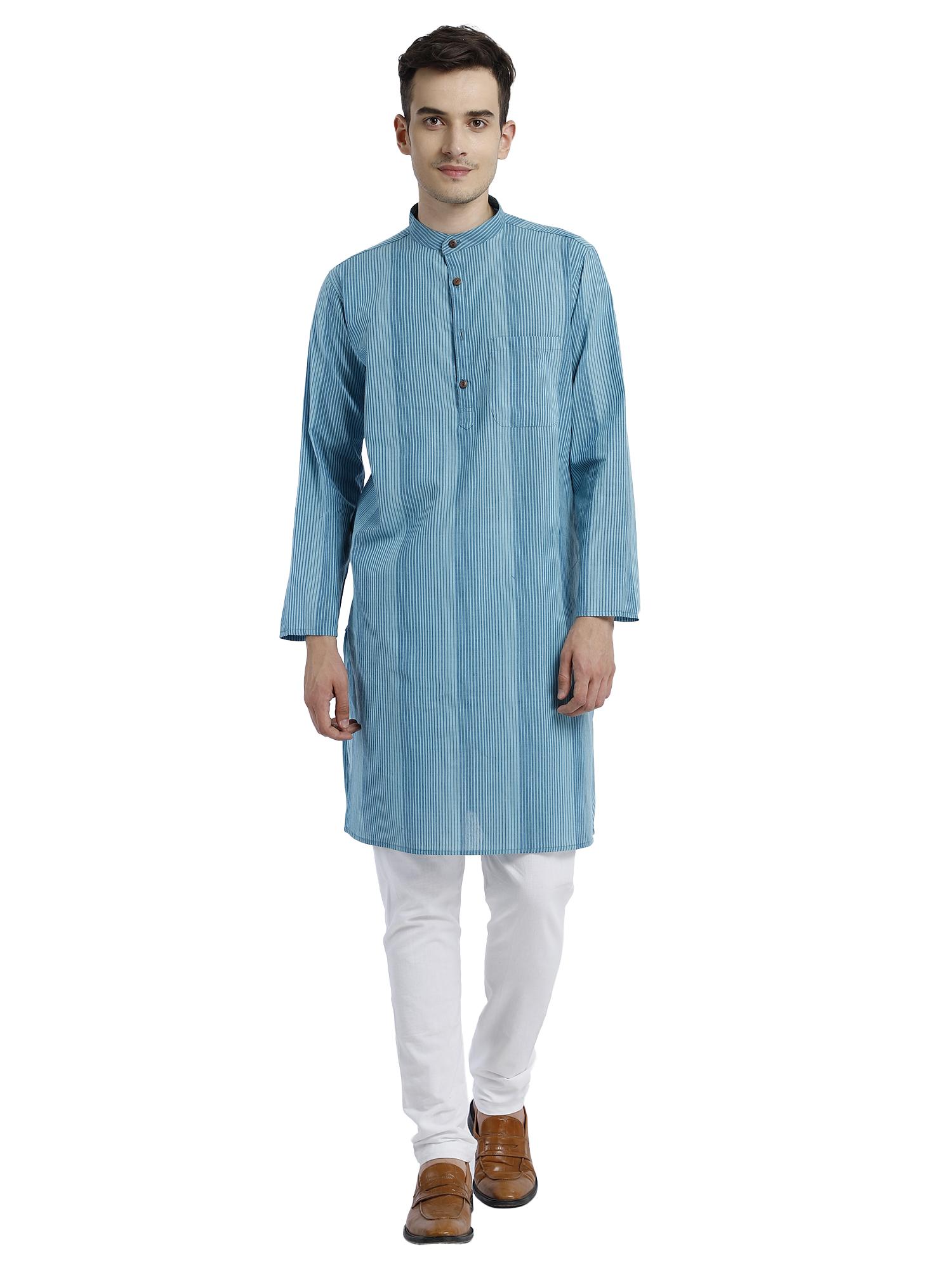 Abhiyuthan | Blue Striped Long Kurta