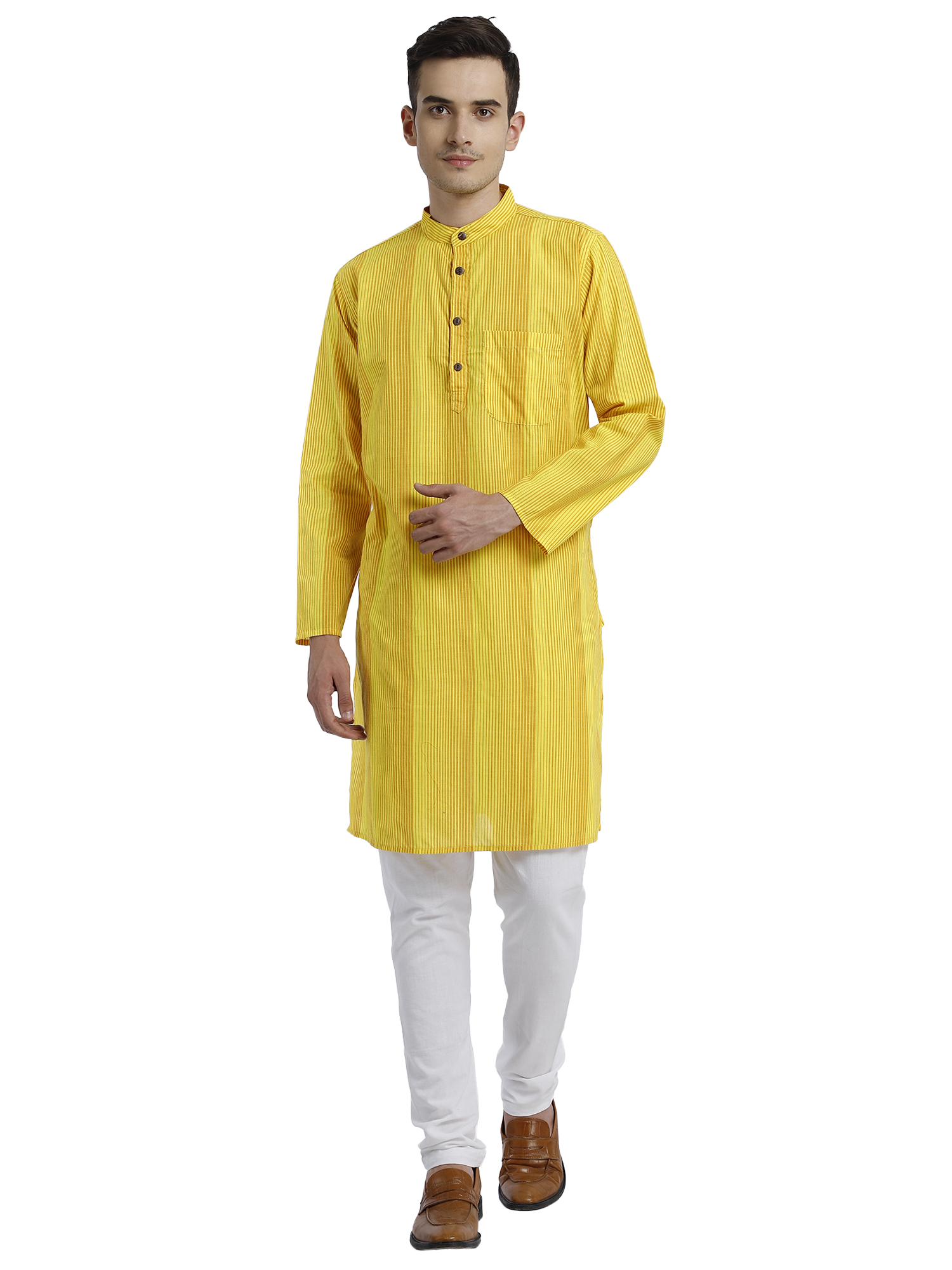 Abhiyuthan   Yellow Striped Long Kurta