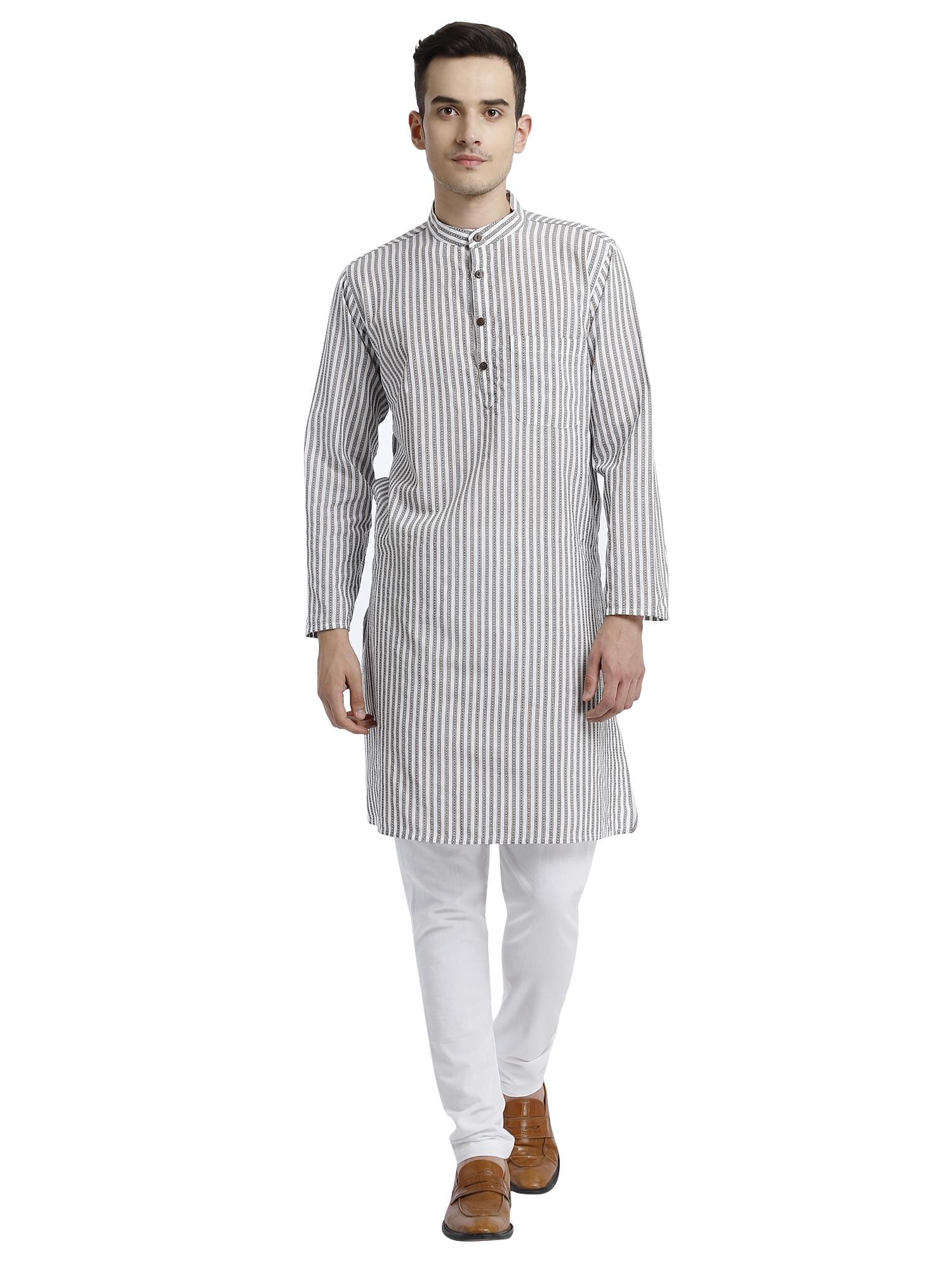 Abhiyuthan | Grey dobby Striped Long Kurta