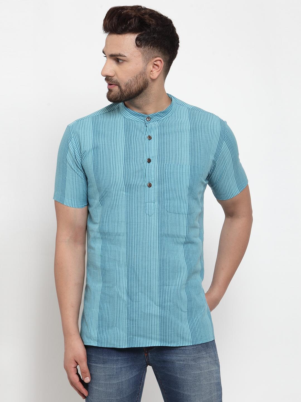 Abhiyuthan | Blue Stripes Short Kurta