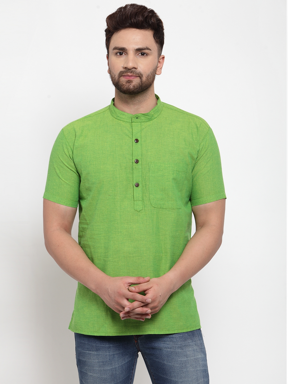 Abhiyuthan | Green Solid Short Kurta