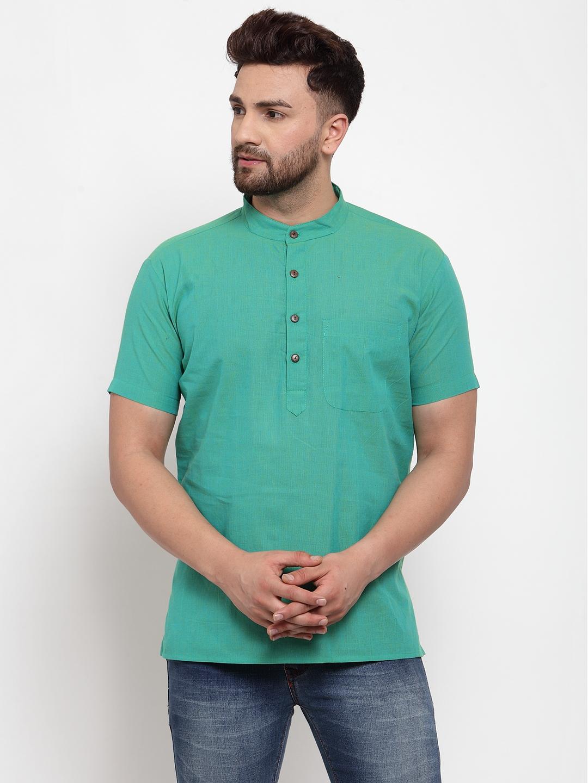 Abhiyuthan | Sea Green Solid Short Kurta