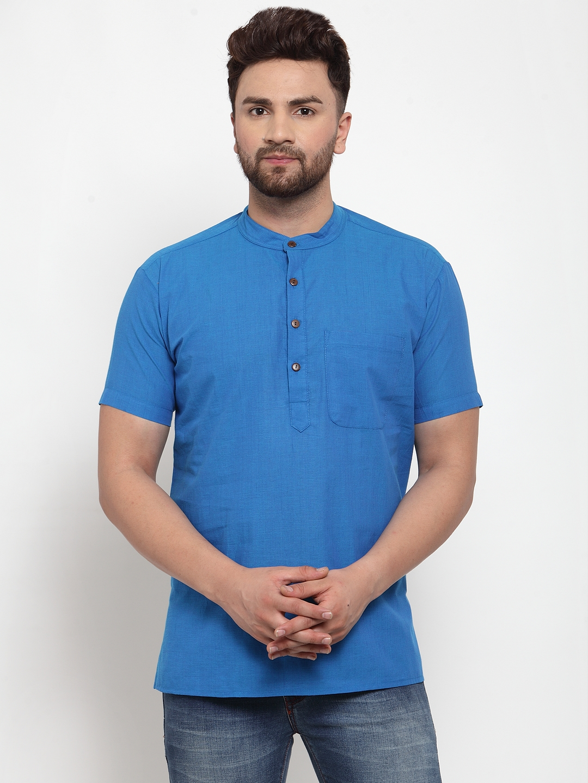 Abhiyuthan | Dark Blue Solid Short Kurta