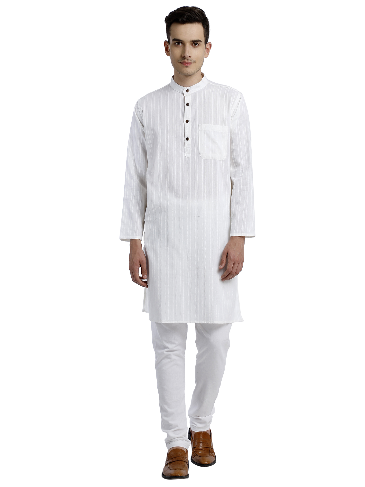Abhiyuthan | White dobby Striped Long Kurta