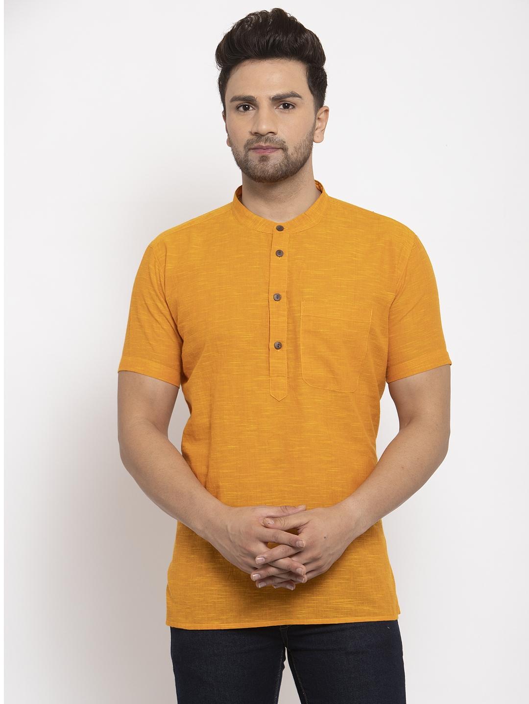 Abhiyuthan | Mustard Slub Short Kurta