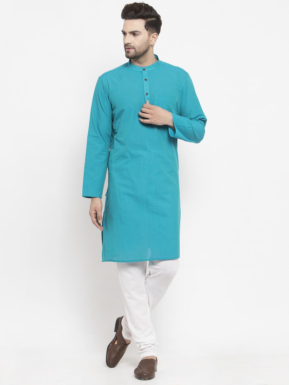 Abhiyuthan | Blue Solid Long Kurta