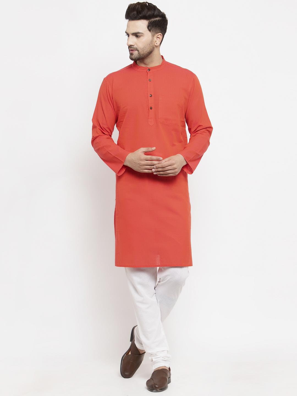 Abhiyuthan | Red Solid Long Kurta