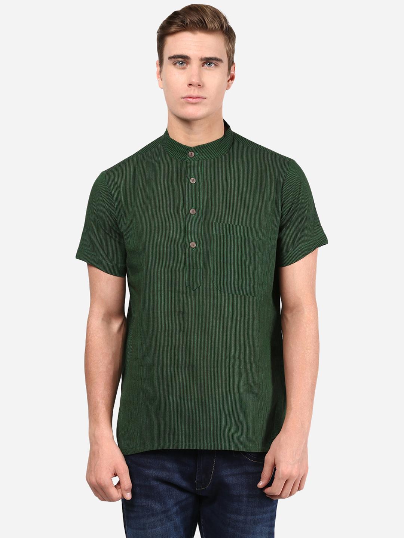 Abhiyuthan | Green Striped Short Kurta