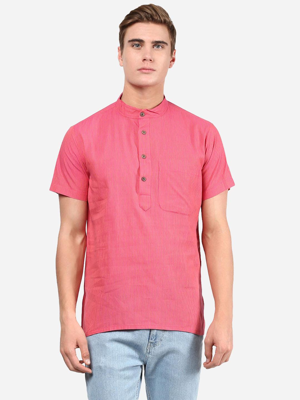 Abhiyuthan | Pink Yellow Striped Short Kurta