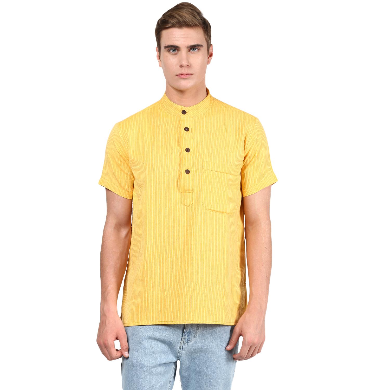 Abhiyuthan | Yellow Dobby Striped Short Kurta