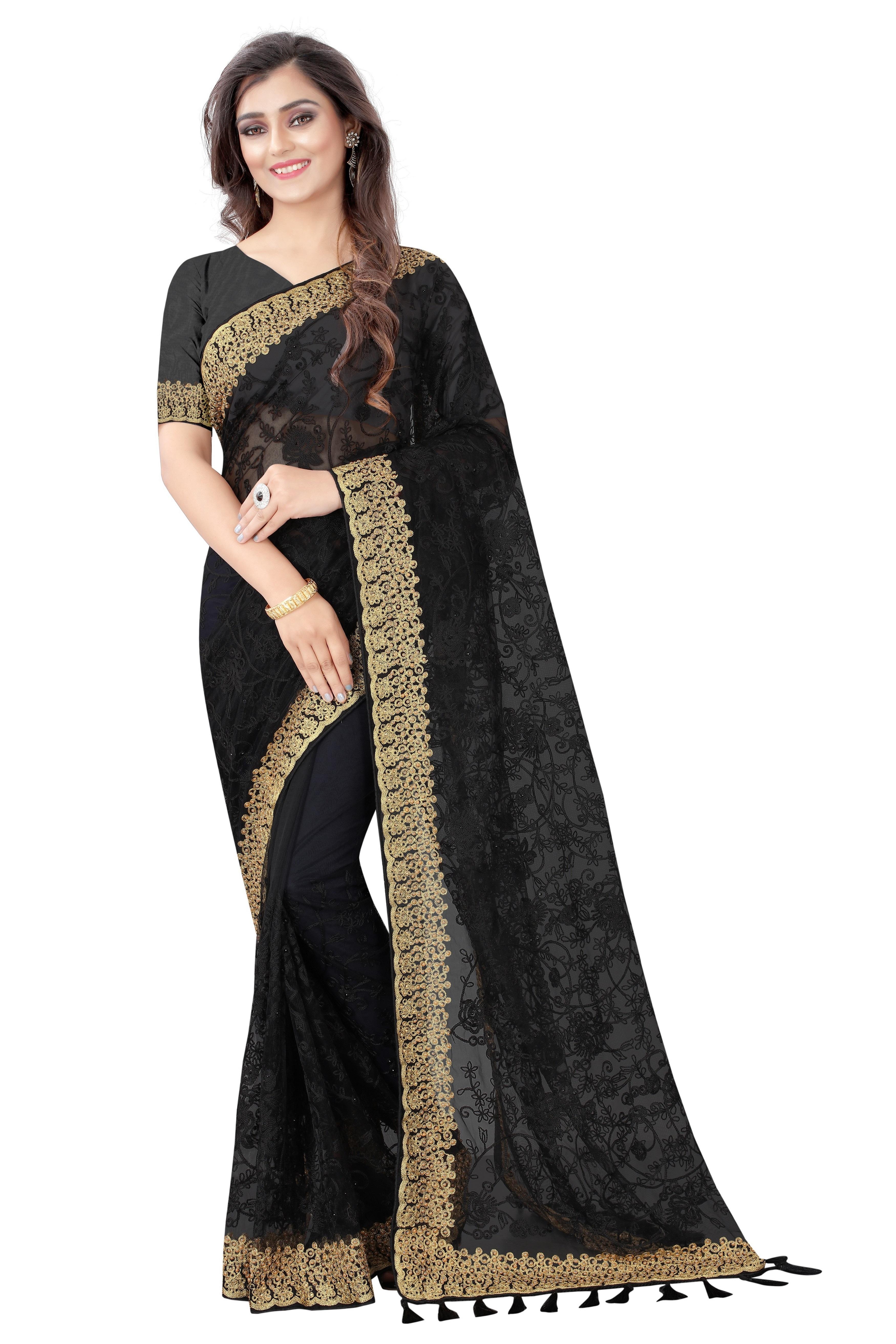 AWRIYA | AWRIYA Women's Chikankari Embroidery Work Net Saree with Applique Stone Work - RUHI-1 Black