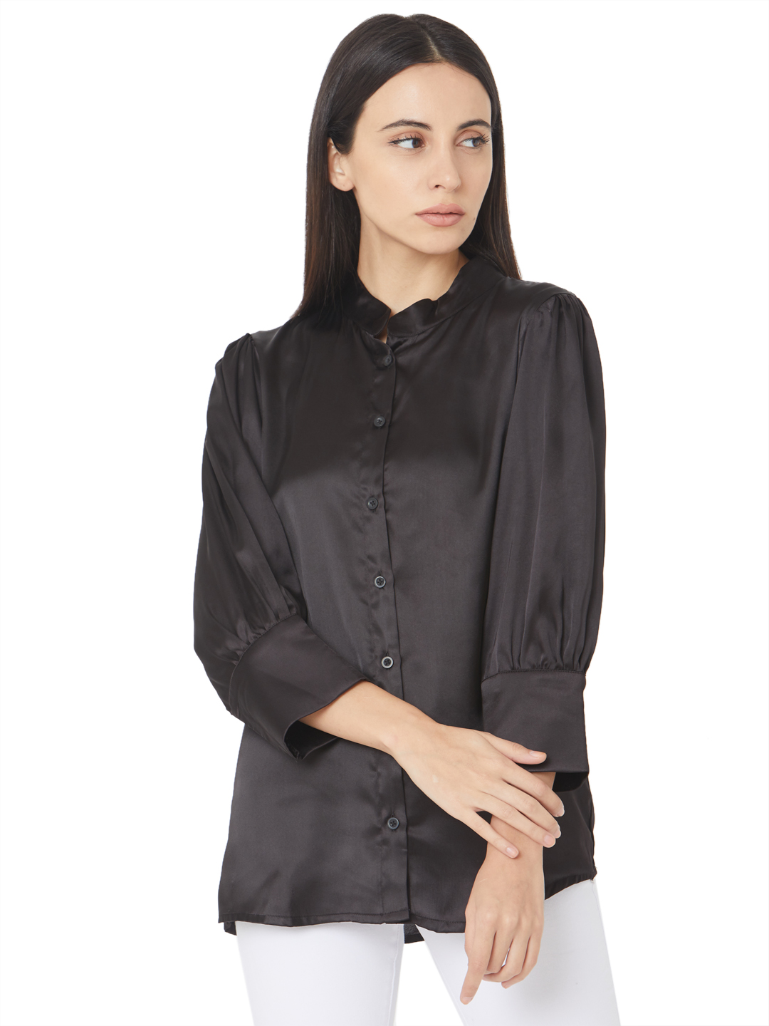 Smarty Pants | Silk satin black color puff sleeves button down shirt
