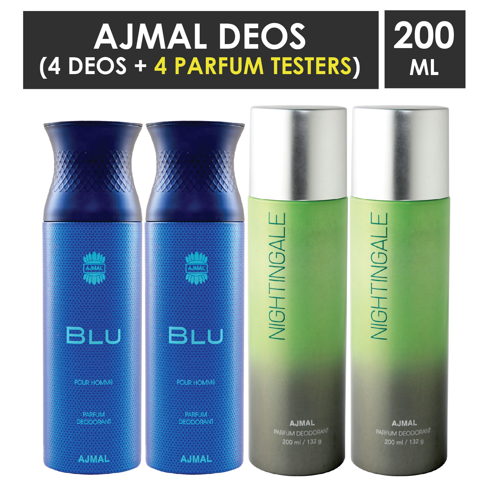 Ajmal   Ajmal 2 Blu Homme for Men and 2 Nightingale for Men & Women High Quality Deodorants each 200ML Combo pack of 4 (Total 800ML) + 4 Parfum Testers