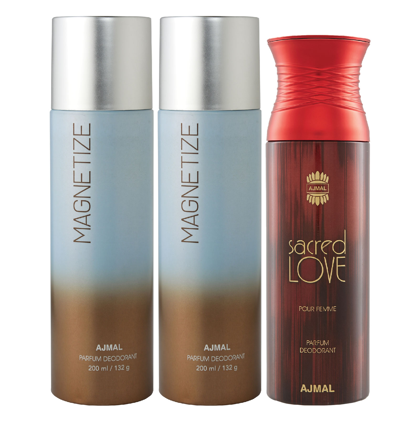 Ajmal | Ajmal 2 Magnetize for Men & Women and 1 Sacred Love for Women High Quality Deodorants each 200ML Combo pack of 3 (Total 600ML) + 3 Parfum Testers