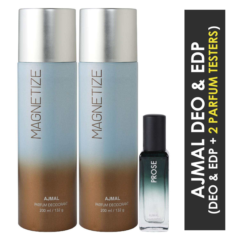 Ajmal | Ajmal 2 Magnetize Deo each 200ML & Prose EDP 20ML Pack of 3 (Total 420ML) for Men & Women + 2 Parfum Testers