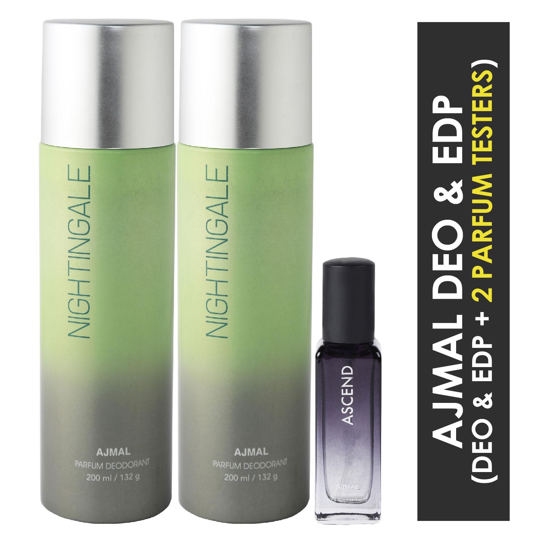 Ajmal | Ajmal 2 Nightingale Deo each 200ML & Ascend  EDP 20ML Pack of 3 (Total 420ML) for Men & Women + 2 Parfum Testers
