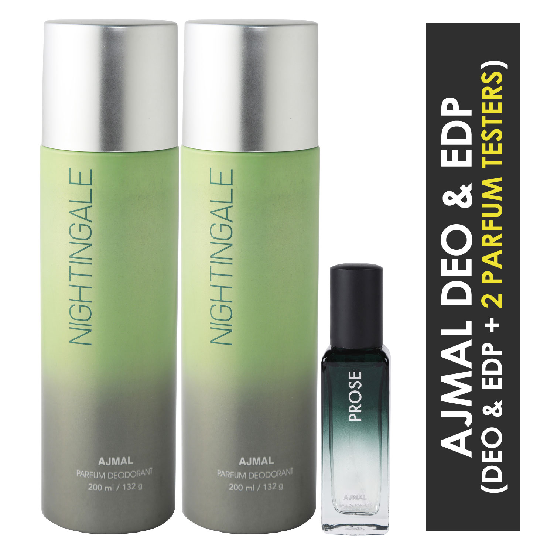 Ajmal | Ajmal 2 Nightingale Deo each 200ML & Prose EDP 20ML Pack of 3 (Total 420ML) for Men & Women + 2 Parfum Testers