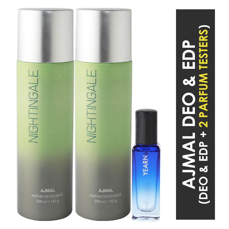 Ajmal | Ajmal 2 Nightingale Deo each 200ML & Yearn  EDP 20ML Pack of 3 (Total 420ML) for Men & Women + 2 Parfum Testers