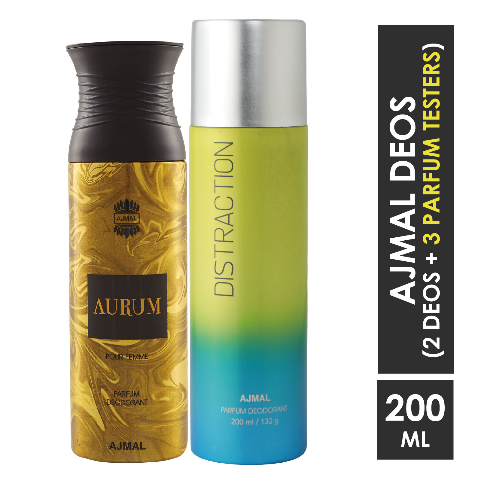 Ajmal | Ajmal Aurum Femme for Women and Distraction for Men & Women High Quality Deodorants each 200ML Combo pack of 2 (Total 400ML) + 3 Parfum Testers