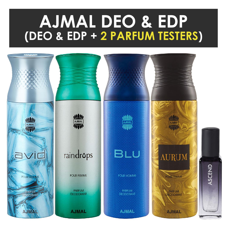 Ajmal | Ajmal Avid & Raindropss & Blu & Aurum Deo each 200ML & Ascend  EDP 20ML Pack of 5 (Total 820ML) for Men & Women + 2 Parfum Testers