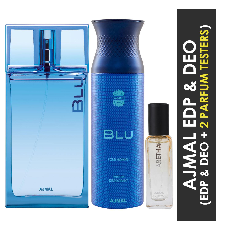 Ajmal | Ajmal Blu EDP 90ml and Blu Deo 200ml & Aretha EDP 20ML Pack of 3 (Total 310ML) for Men & Women + 2 Parfum Testers