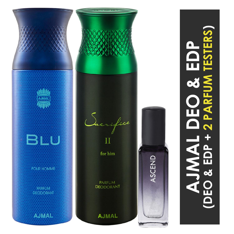 Ajmal | Ajmal Blu & Sacrifice II Him Deo each 200ML & Ascend  EDP 20ML Pack of 3 (Total 420ML) for Men & Women + 2 Parfum Testers