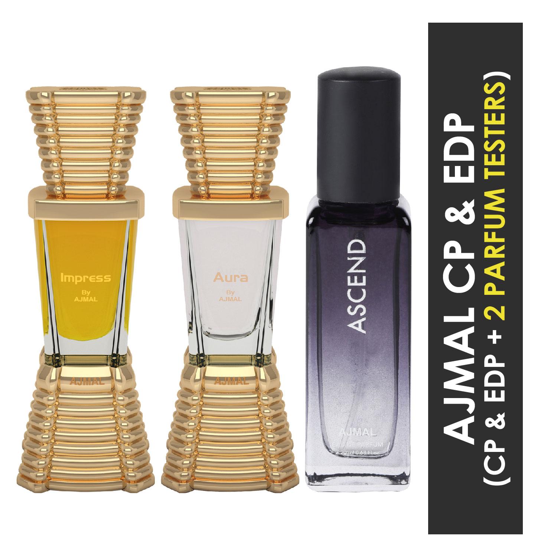 Ajmal | Ajmal Impress and Aura each of 10ml & Ascend  EDP 20ML Pack of 3 (Total 30ML) for Men & Women + 2 Parfum Testers