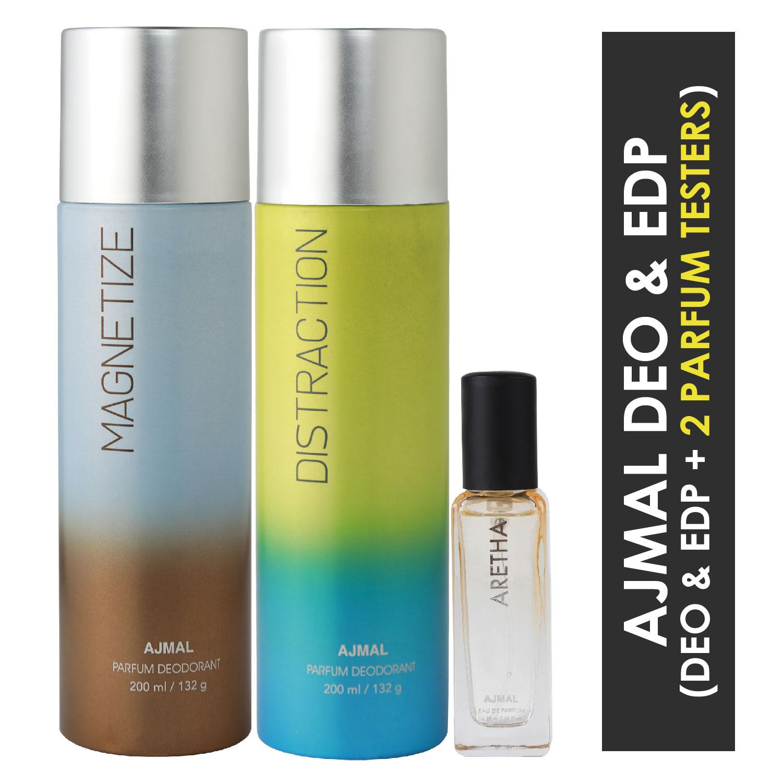 Ajmal | Ajmal Magnetize & Distraction Deo each 200ML & Aretha EDP 20ML Pack of 3 (Total 420ML) for Men & Women + 2 Parfum Testers