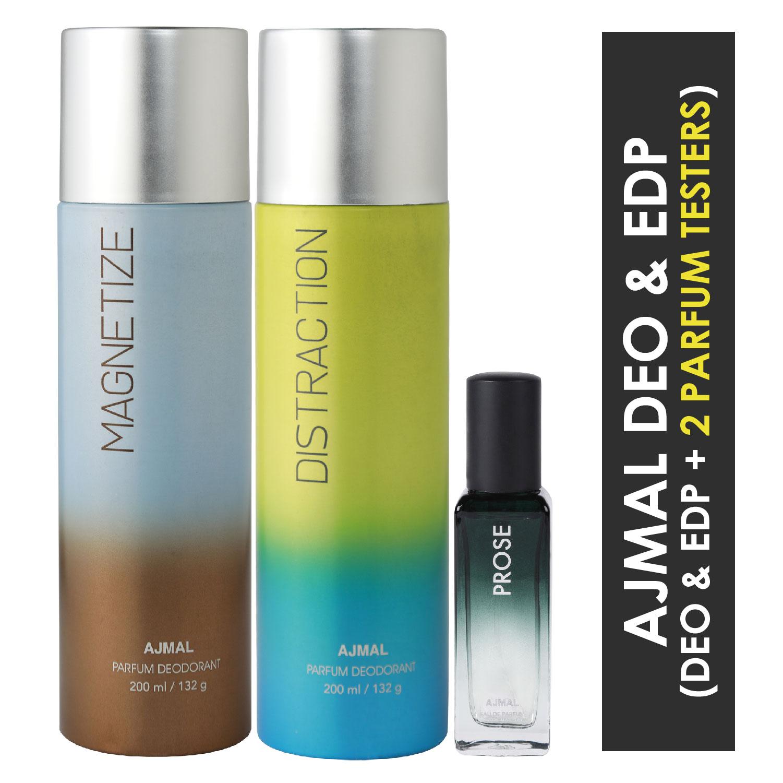 Ajmal | Ajmal Magnetize & Distraction Deo each 200ML & Prose EDP 20ML Pack of 3 (Total 420ML) for Men & Women + 2 Parfum Testers