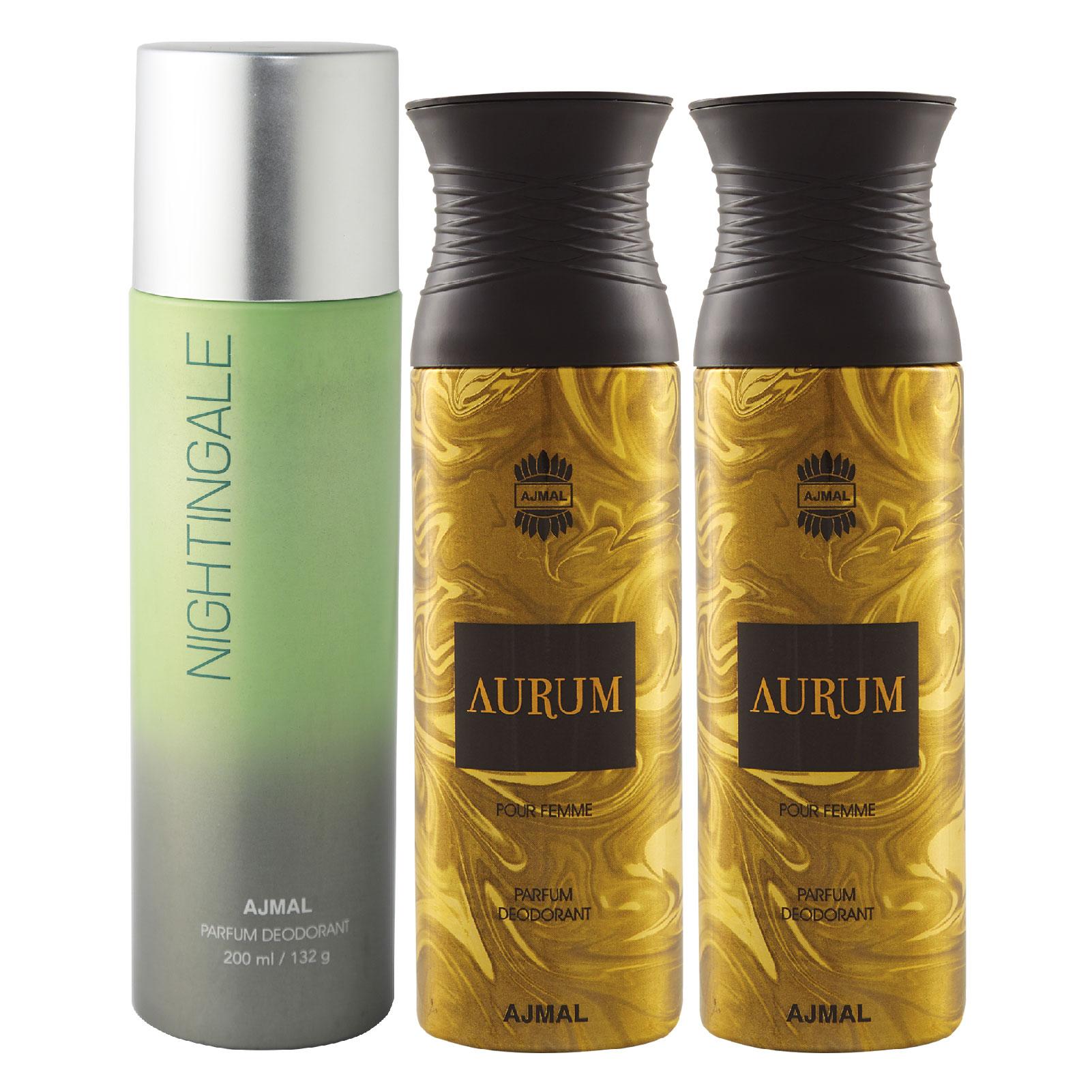 Ajmal   Ajmal 1 Nightingale for Men & Women and 2 Aurum Femme for Women High Quality Deodorants each 200ML Combo pack of 3 (Total 600ML) + 3 Parfum Testers