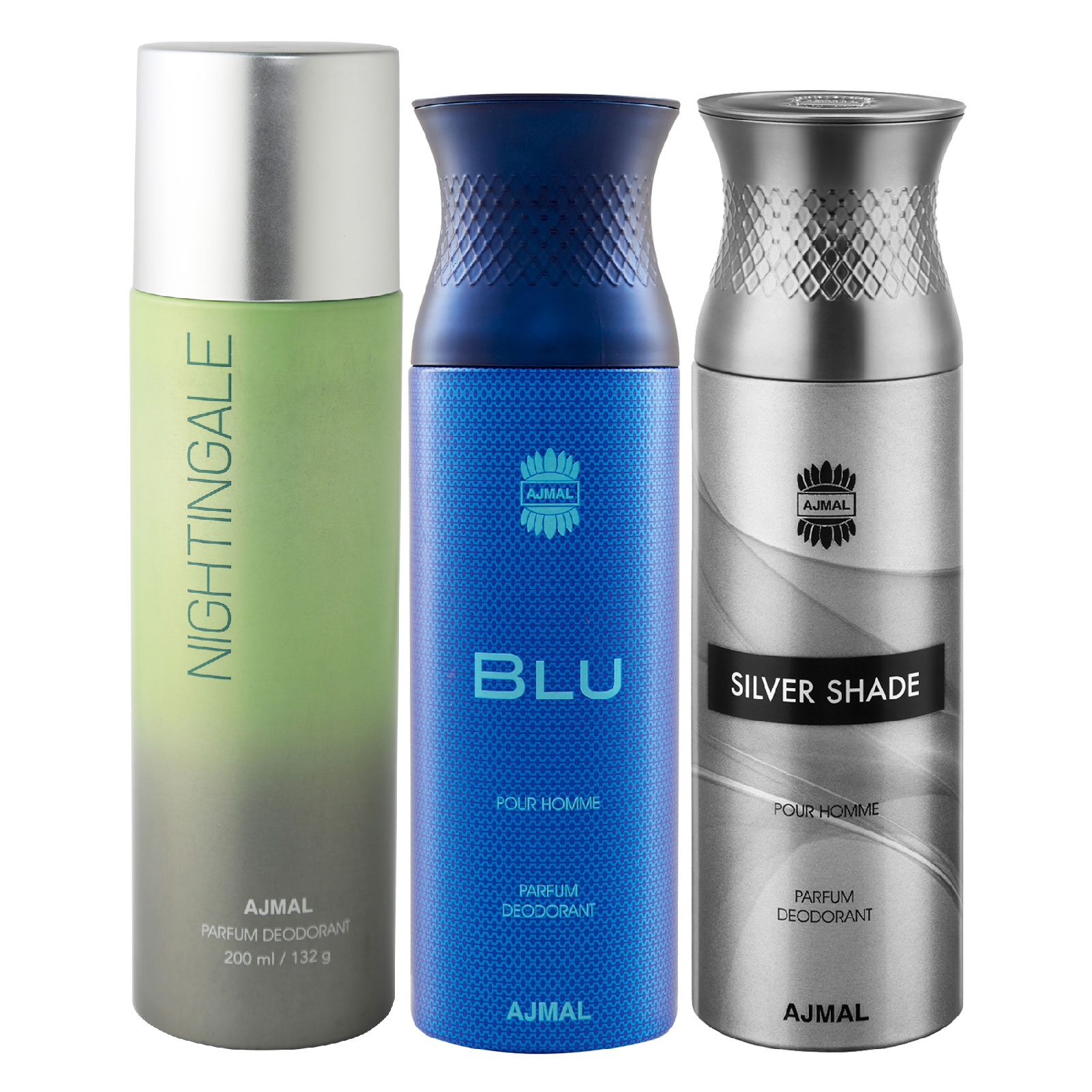 Ajmal | Ajmal 1 Nightingale for Men & Women, 1 Blu Homme for Men and 1 Silver Shade for Men High Quality Deodorants each 200ML Combo pack of 3 (Total 600ML) + 3 Parfum Testers