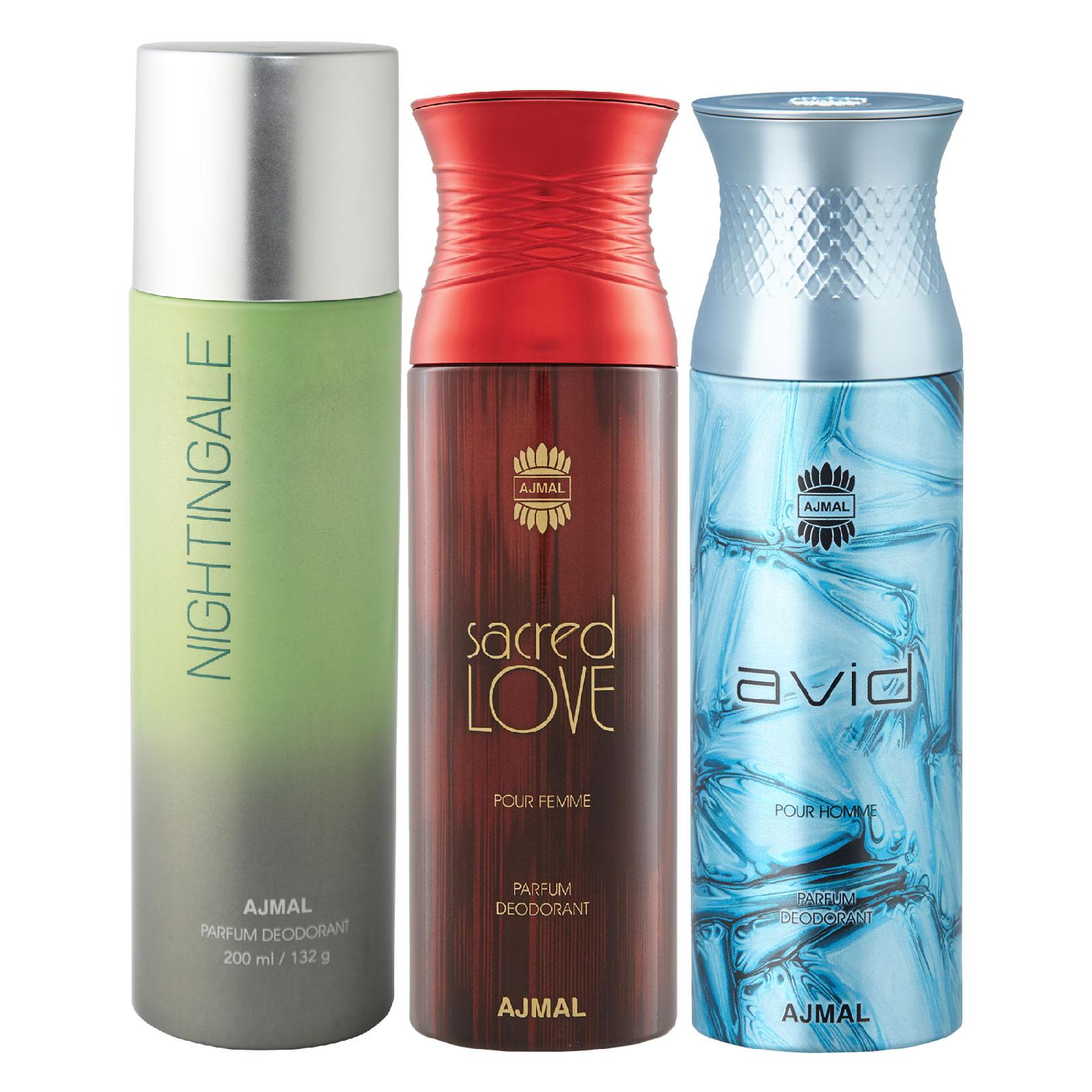 Ajmal | Ajmal 1 Nightingale for Men & Women, 1 Sacred Love for Women and 1 Avid for Men High Quality Deodorants each 200ML Combo pack of 3 (Total 600ML) + 3 Parfum Testers