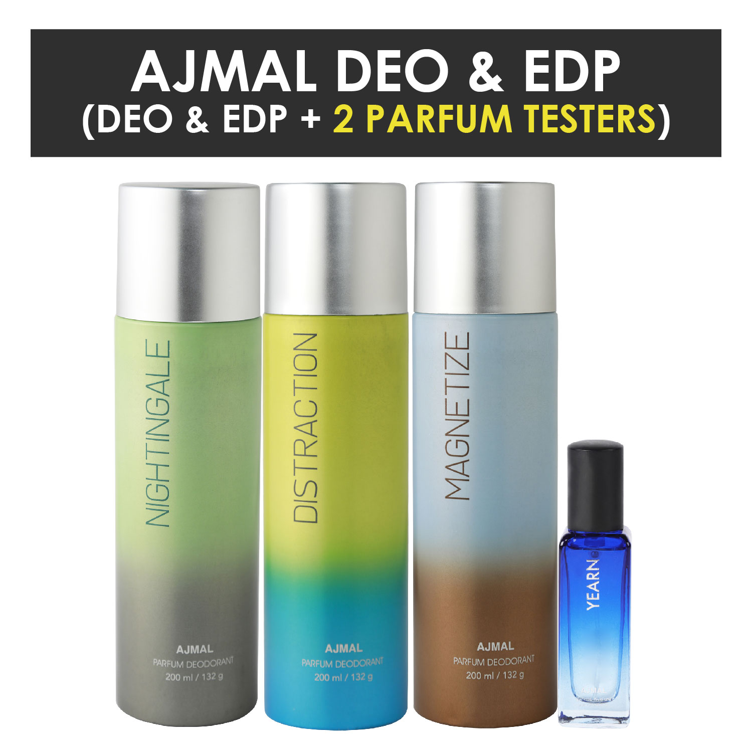 Ajmal | Ajmal Nightingale & Distraction & Magnetize Deo each 200ML & Yearn  EDP 20ML Pack of 3 (Total 620ML) for Men & Women + 2 Parfum Testers