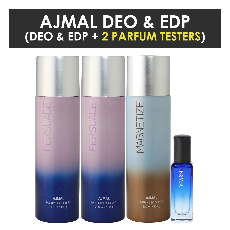 Ajmal   Ajmal 2 Persuade & Magnetize Deo each 200ML & Yearn  EDP 20ML Pack of 3 (Total 620ML) for Men & Women + 2 Parfum Testers