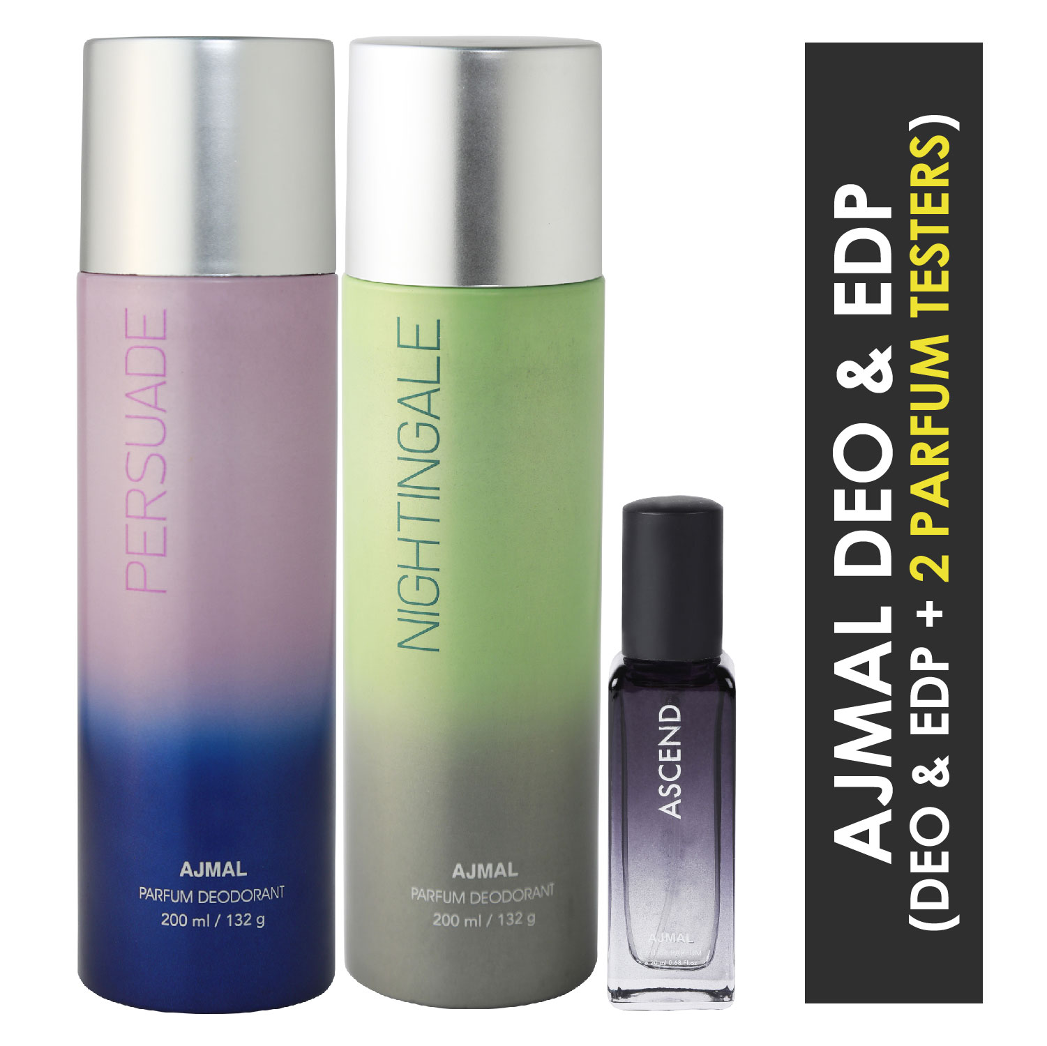Ajmal | Ajmal Persuade & Distraction Deo each 200ml & Ascend  EDP 20MLPack of 3 (Total 420ML) for Men & Women + 2 Parfum Testers