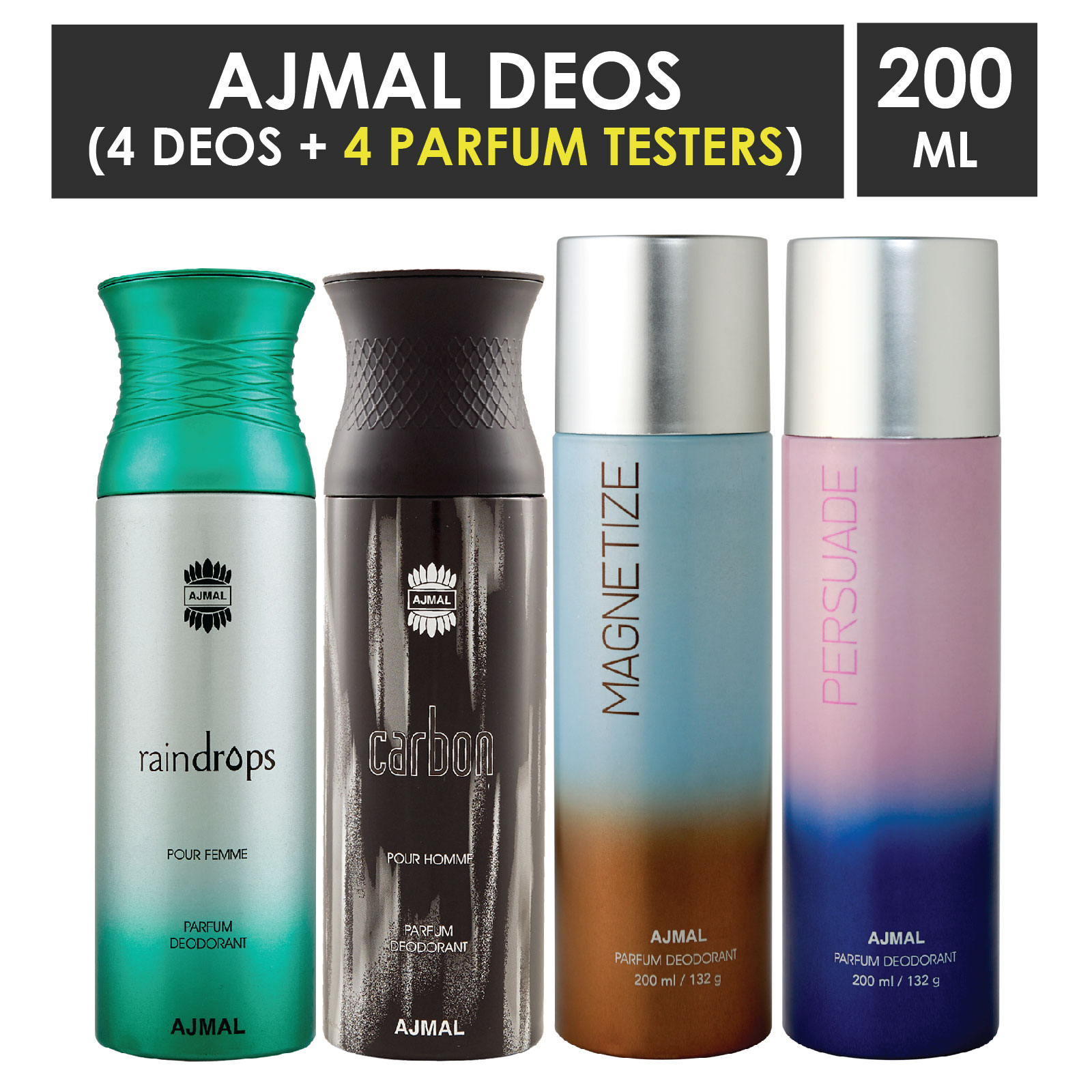 Ajmal | Ajmal 1 Raindrops Femme for Women, 1 Carbon Homme for Men, 1 Magnetize and 1 Persuade for Men & Women High Quality Deodorants each 200ML Combo pack of 4 (Total 800ML) + 4 Parfum Testers