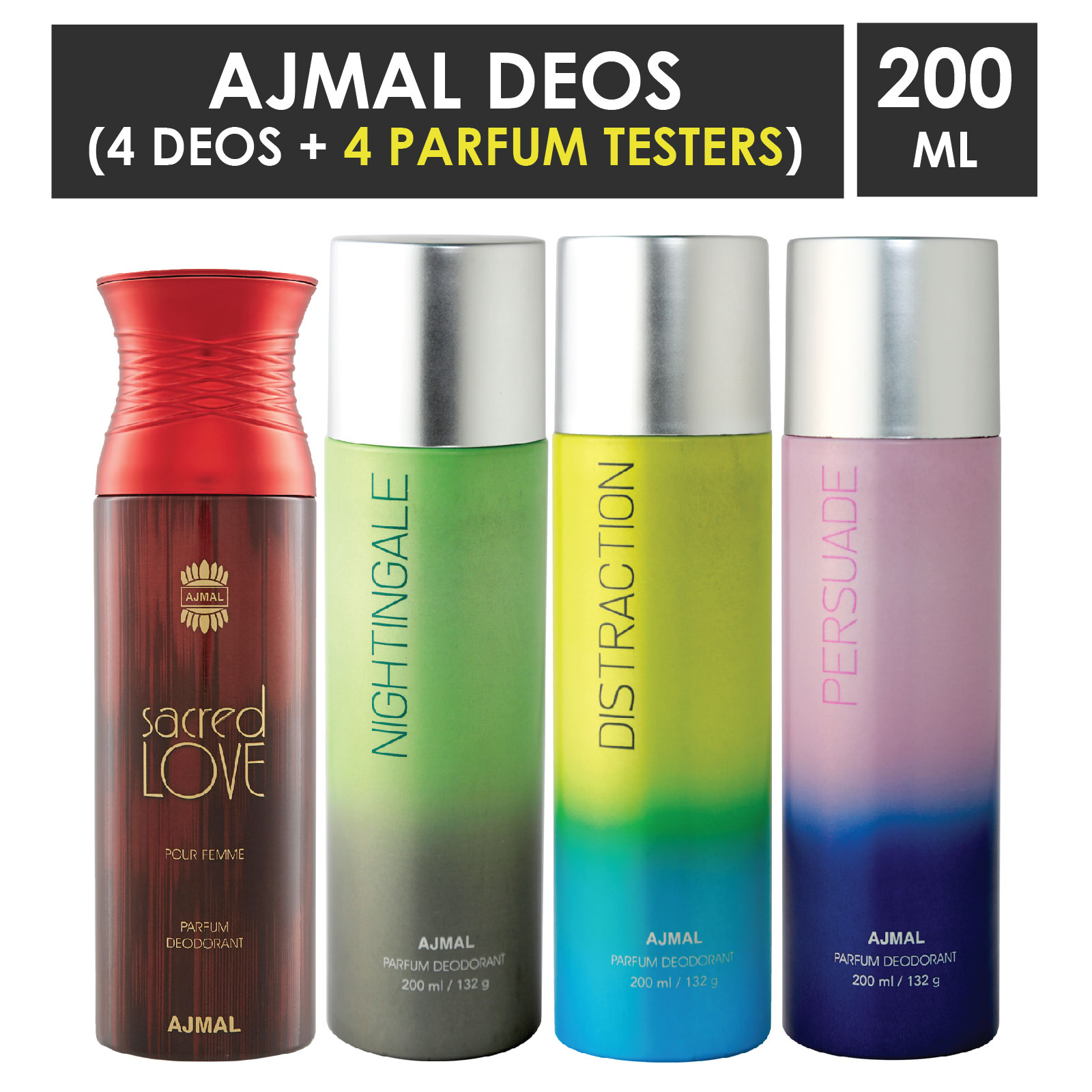 Ajmal | Ajmal 1 Sacred Love for Women, 1 Nightingale, 1 Distraction and 1 Persuade for Men & Women High Quality Deodorants each 200ML Combo pack of 4 (Total 800ML) + 4 Parfum Testers