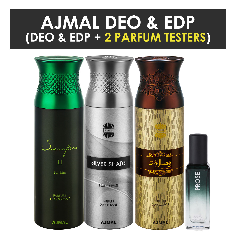 Ajmal | Ajmal Sacrifice II & Silver Shade & Wisal Dahab Deo each 200ML & Prose EDP 20ML Pack of 4 (Total 620ML) for Men & Women + 2 Parfum Testers