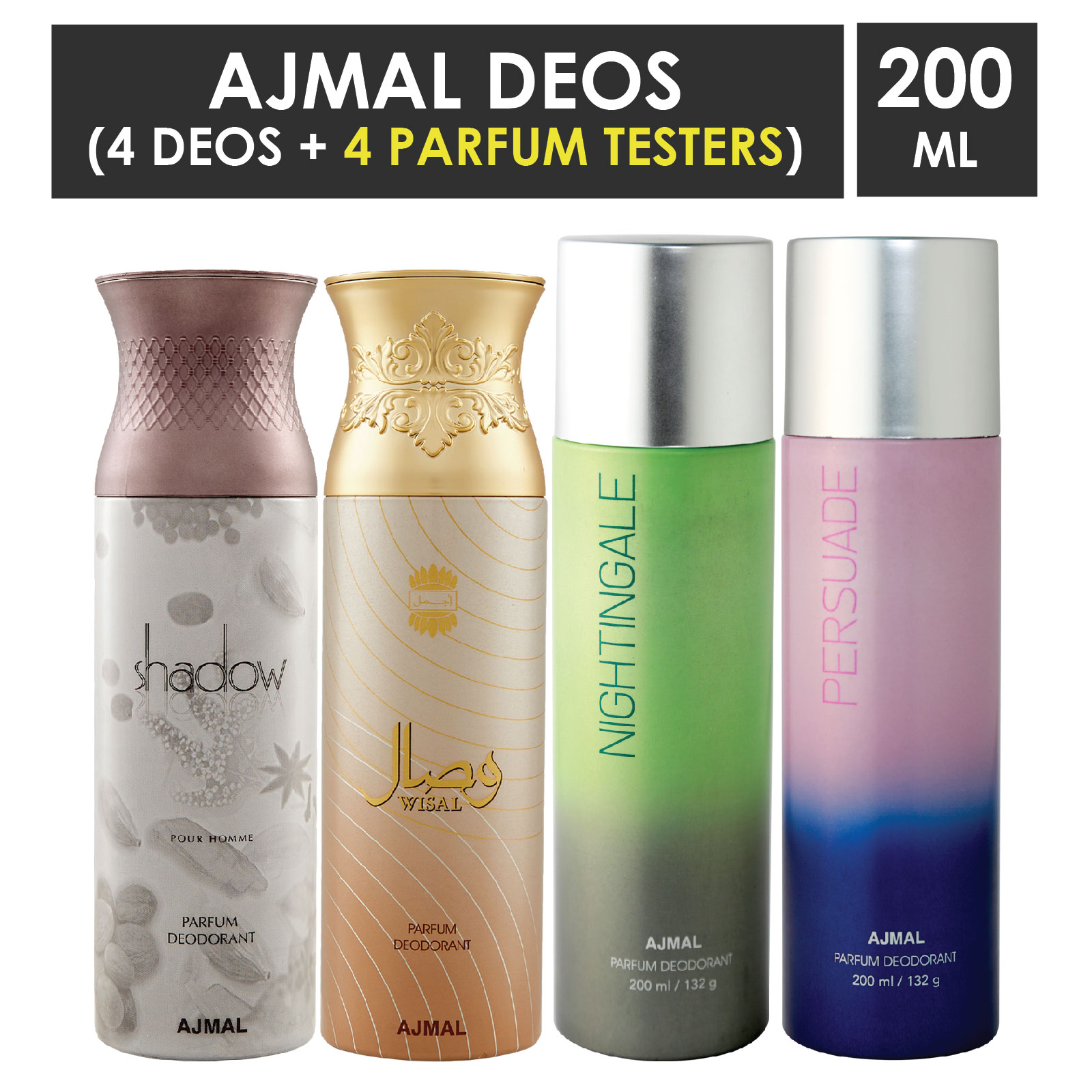 Ajmal   Ajmal 1 Shadow Homme for Men, 1 Wisal for Women, 1 Nightingale and 1 Persuade for Men & Women High Quality Deodorants each 200ML Combo pack of 4 (Total 800ML) + 4 Parfum Testers