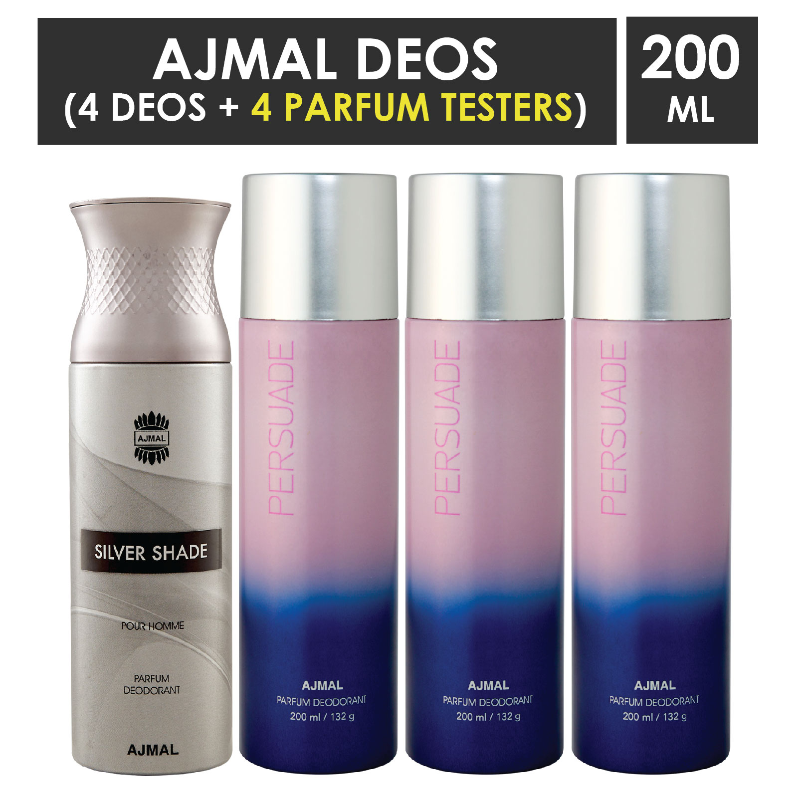 Ajmal | Ajmal 1 Silver Shade for Men and 3 Persuade for Men & Women High Quality Deodorants each 200ML Combo pack of 4 (Total 800ML) + 4 Parfum Testers