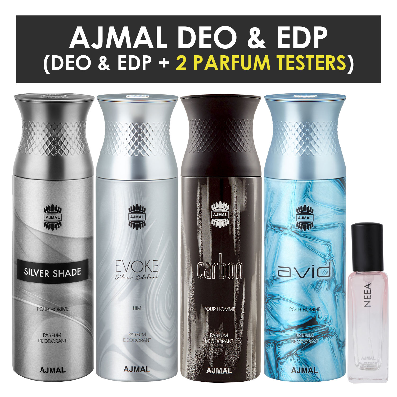 Ajmal | Ajmal Silver Shade & EvokeSilver Edition Homme & Carbon & Avid Deo each 200ML & Neea EDP 20ML Pack of 5 (Total 820ML) for Men & Women + 2 Parfum Testers