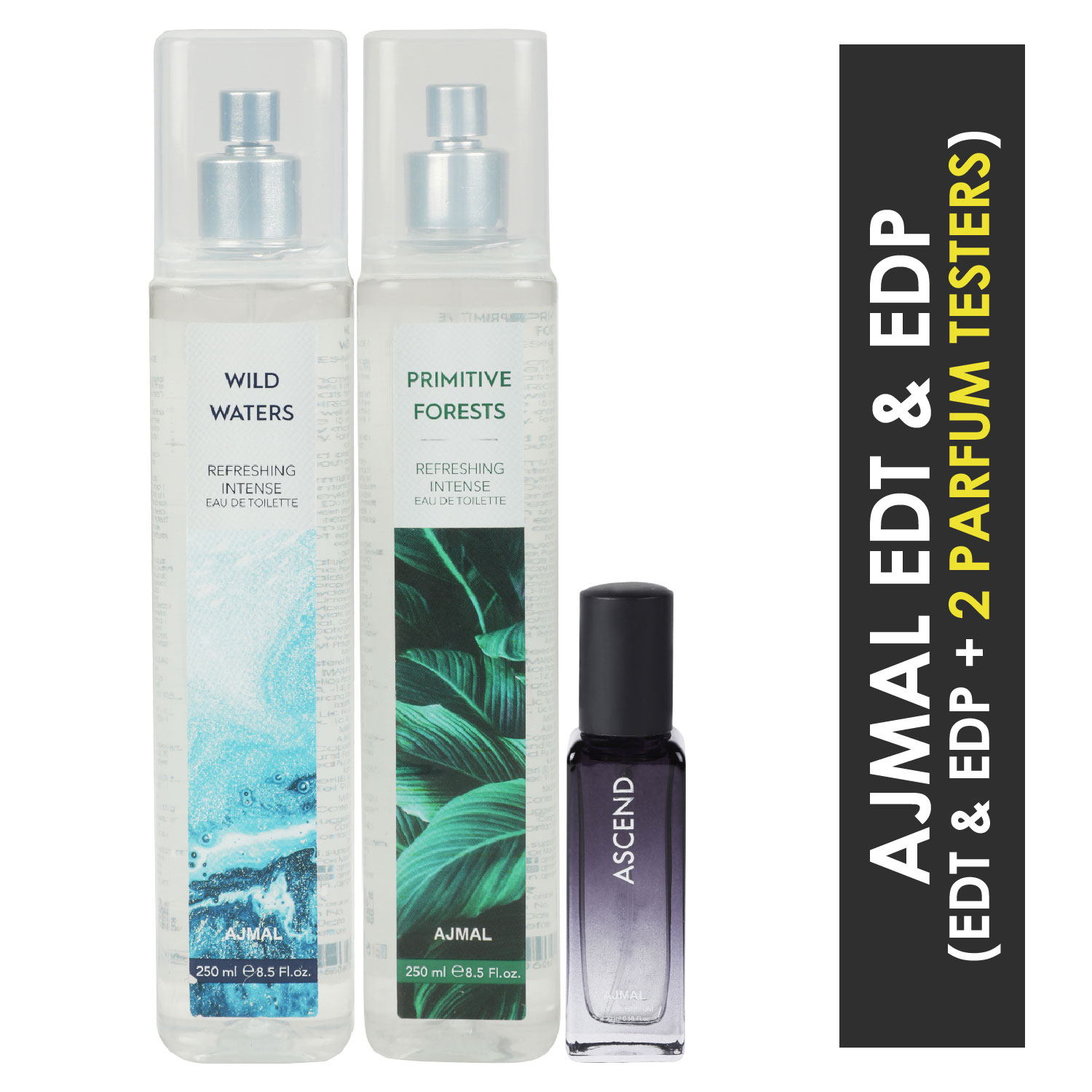Ajmal | Ajmal Wild Waters & Primitive Forest EDT each 250ML & Ascend  EDP 20ML Pack of 3 (Total 520ML) for Men & Women + 2 Parfum Testers