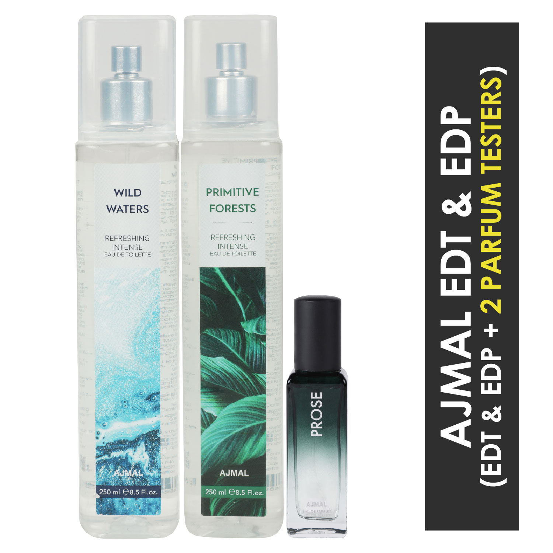 Ajmal | Ajmal Wild Waters & Primitive Forest EDT each 250ML & Prose EDP 20ML Pack of 3 (Total 520ML) for Men & Women + 2 Parfum Testers