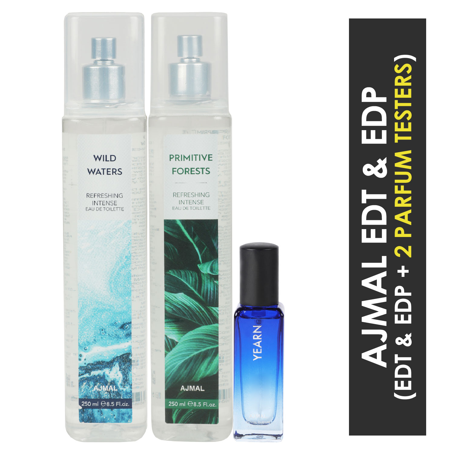 Ajmal | Ajmal Wild Waters & Primitive Forest EDT each 250ML & Yearn  EDP 20ML Pack of 3 (Total 520ML) for Men & Women + 2 Parfum Testers