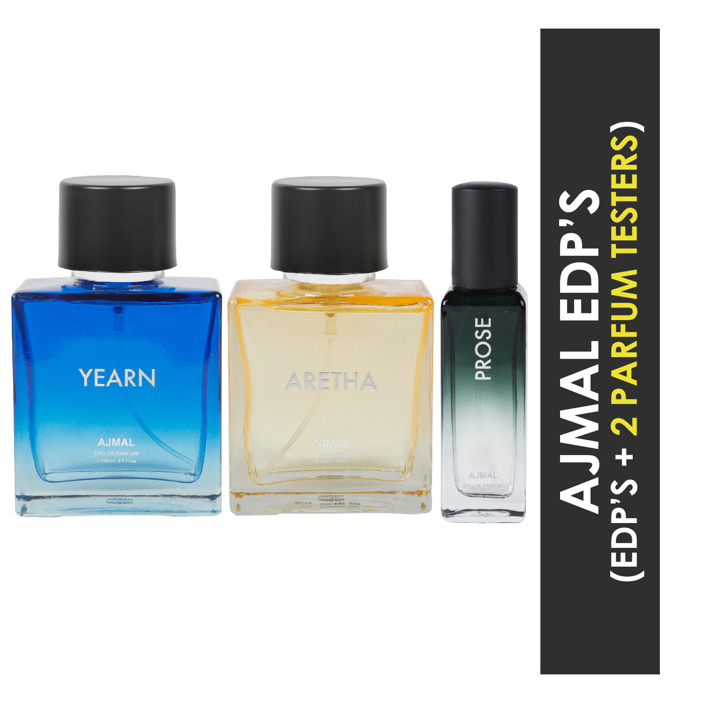 Ajmal | Ajmal Yearn & Aretha EDP each 100ML & Prose EDP 20ML Pack of 3 (Total 220ML) for Men & Women + 2 Parfum Testers