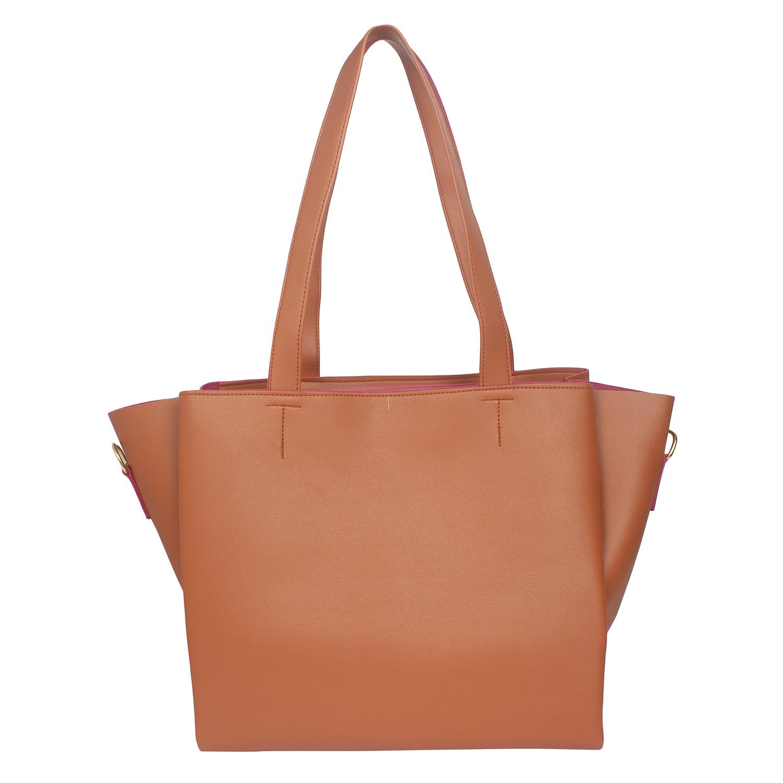 Aliado   Aliado Brown Artificial Leather Zipper Closure Handbag