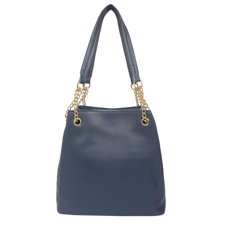 Aliado | Aliado Blue Artificial Leather Tuck Lock Closure Handbag