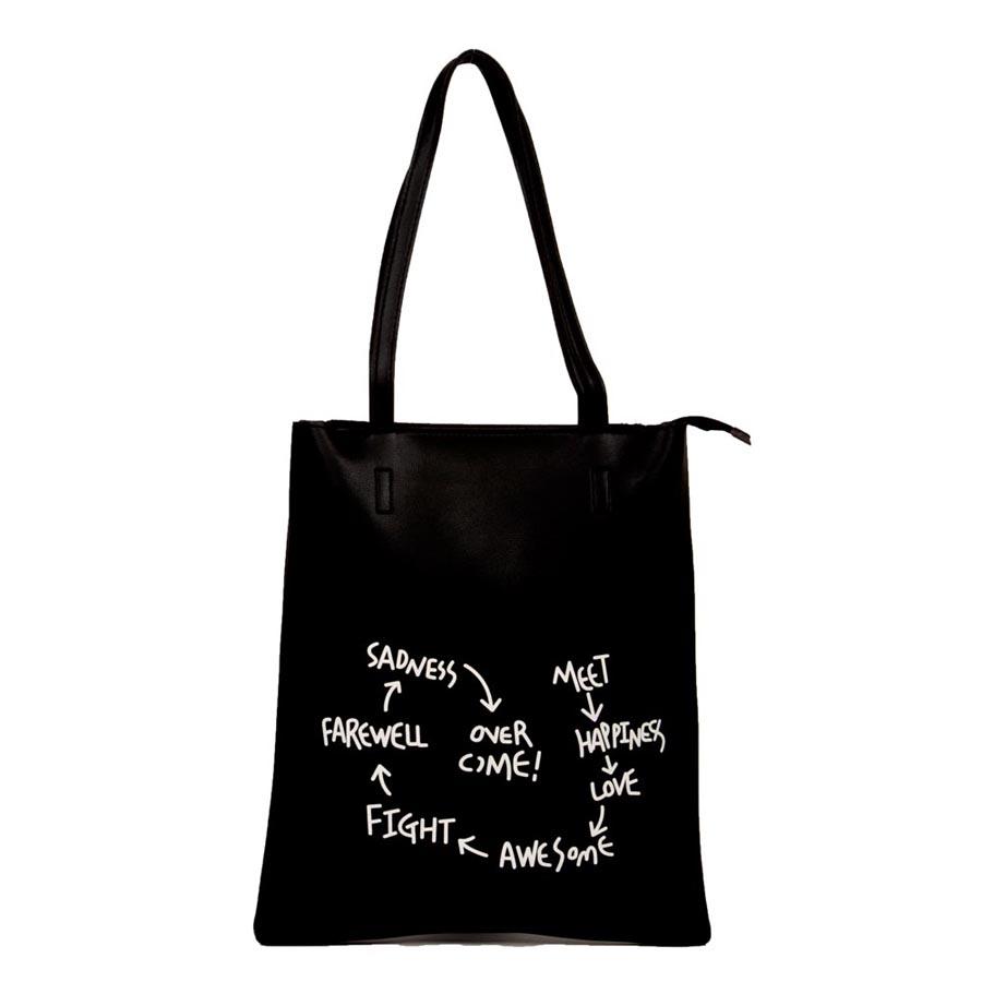 Aliado | Envie Faux Leather Solid Black Zipper Closure Tote Bag for Women